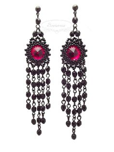 Gothic beaded earrings with Rivoli and Fire Polish