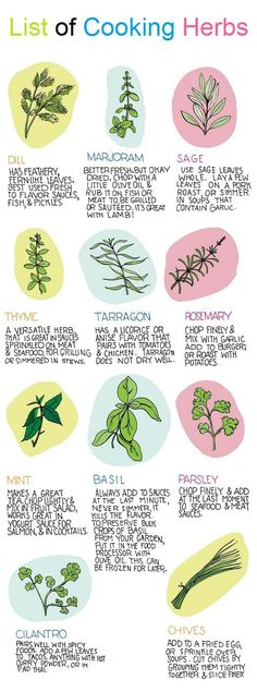 List of Cooking Herbs : Dill : Has feathery fern-like leaves. Best used fresh to flavor sauces, Fish, & Pichles. Marjoram : Better fresh, but okay dried. chop with a little olive oil & rub it on fish or meat to, be grilled or sauteed. it's great with lamb. Sage : Use sage leaves whole.