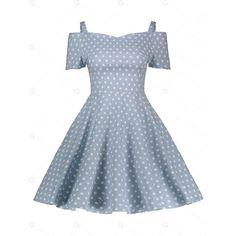 Blue Dot Pattern 2xl Cold Shoulder Polka Dot Vintage Dress ($17) ❤ liked on Polyvore featuring dresses, open shoulder dress, cold shoulder dresses, spotted dress, blue dot dress and vintage dresses