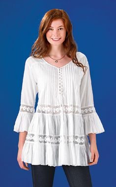 Only at GaelSong! White Bell-Sleeved Tunic: EXCLUSIVE! Whether you write poetry or just want to live it, this romantic flowy tunic, light as a sigh, will stir your imagination. A confection of white lawn in pintucked pleats and bell sleeves, adorned with crocheted lace and tiny loop buttons to the waist.