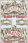 Винтаж графический элемент в меню итальянская паста — Cтоковый вектор