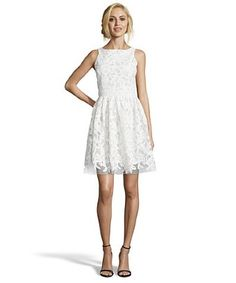 Wyatt white floral faux leather lace appliqué fit and flare dress