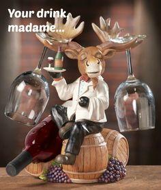 Moose Wine Bottle Holder Kitchen Decoration