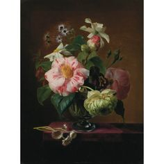 Attributed to E. Agathe Pilon  Still Life of Flowers in a Crystal Vase on a Table Top  Bears signature Agathe Pilon (ll)  Oil on canvas