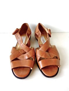 Vintage Neutral Brown Strappy Sandal