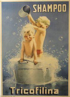 "SHAMPOO Tricofilina 1945 Gino Boccasile 38"" x 27"" vintage Italian Poster"
