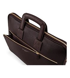 Buy Chocolate Brown Saffiano Aspinal of London Connaught Document Case from our View All Suitcases, Travel Bags & Accessories range at John Lewis & Partners. Briefcase For Men, Leather Briefcase, Sack Bag, Work Bags, Aspinal Of London, Laptop Case, Italian Leather, Calf Leather, Bag Accessories