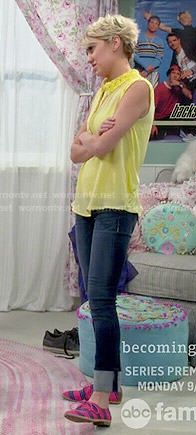 Riley's yellow crochet collar top and pink striped oxfords on Baby Daddy.  Outfit Details: http://wornontv.net/49565/ #BabyDaddy