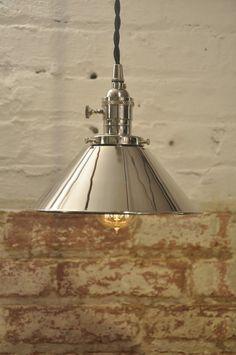 Poli Nickel Cone Shade pendentif industriel luminaire rustique Vintage Retro