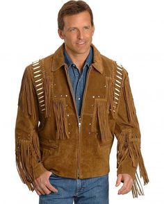 Mens Scully Leather Western wear Brown Suede Leather Jacket Fringe Bead & Bones #Handmade #Cowboy