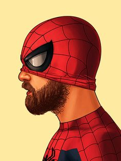 Spiderman by Mike Mitchell Mike Mitchell, Marvel Dc, Marvel Comics, Batwoman, Nightwing, Red Hood, Hairy Men, Bearded Men, Comic Books Art