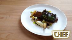 Braised Beef Ribs with Tarragon Emulsion, Celery Fondant and Pickled Port Wine Onions