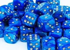 Chessex Dice - Lustrous - 12mm d6 with pips - Blue gold for �8.00 plus postage from thediceplace.com