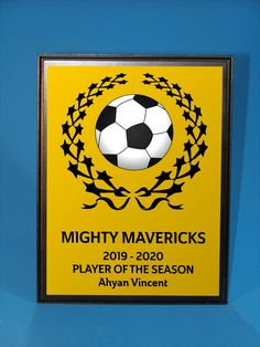 Fantastic idea for your top performers in your soccer team!  Choose from a range of colours available and let us know what text you'd like on the plaque.  THE BEST PART is the soccer ball - it's a half round 3D ball that stands out from the plaque! Trophies And Medals, Some Ideas, Soccer Ball, Range, Colours, Seasons, 3d, Cookers, Stove