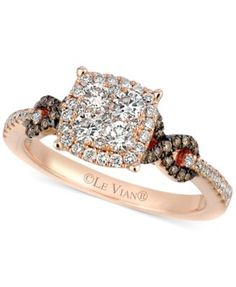Le Vian Chocolate and White Diamond Braided Ring in 14k Rose Gold (1 ct. t.w.) - Rings - Jewelry & Watches - Macy's