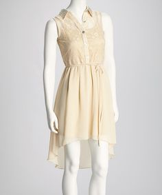 Take a look at this Champagne Rhinestone Lace Sleeveless Hi-Low Shirt Dress on zulily today!