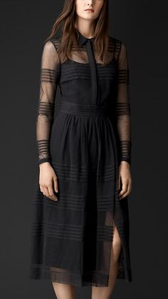 Burberry Prorsum Charcoal Sheer Cotton Shirt Dress - A sheer cotton shirt dress with pleated horizontal stripes. The silk-lined design features a gathered waist and front split detail. Discover the women's dress collection at Burberry.com