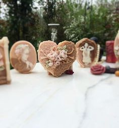 Natural Soap Figurine -LACY HEART (Chocolate and roses) £5.00