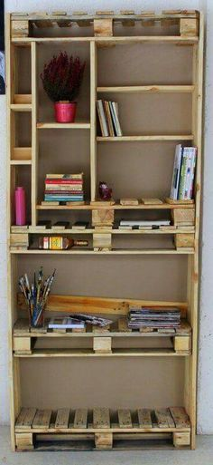 Recycled Pallet Wall Decor Art and Shelves This pallet bookshelf has different parts which are the perfect choice for your … Pallet Wall Decor, Wooden Pallet Projects, Wooden Pallet Furniture, Pallet Shelves, Pallet Crafts, Diy Furniture, Pallet Ideas, Book Shelf Pallet, Wooden Shelves