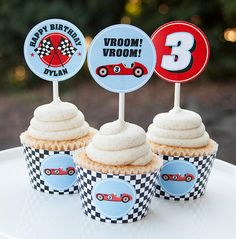 Race Car Birthday Cupcake Toppers - Race Car Birthday Decorations - Car Birthday - Digital PDF File by TangerinePaperShoppe on Etsy https://www.etsy.com/listing/269476652/race-car-birthday-cupcake-toppers-race