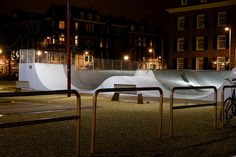 Museumplein, Amsterdam, The Netherlands, December 2013 - January 2014, Half pipes at night