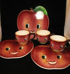 Vtg Anthropomorphic PY Napco Apple Face Sandwich Plate Amp Cup Set 3 Sets EXC Cond | eBay