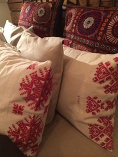 Beautifull old embroideried linen pillows from Hälsingland Sweden.