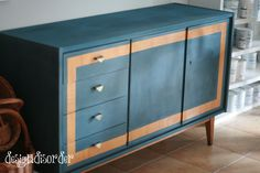 Mid Century Modern and Chalk Paint: If you want to paint an MCM piece, in order for it to work, you need to paint it in the colours that were popular at that time.  They were bright and bold.  Yellows, oranges, teals and other similar colours.  Because the original wood from this piece is slightly yellowy- I went will Aubusson to slightly dull the yellowness.  Taped out a stripe to stay wood tone.