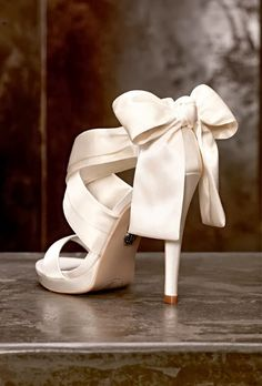 Stunning ivory satin Wedding heels / shoes with bow detail