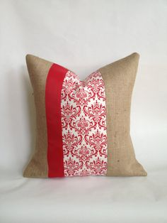 Red Damask Fabric and Burlap Pillow Cover with by BouteilleChic, $26.00