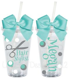Hair Stylist Personalized 16oz  Acrylic Tumbler. $15.00, via Etsy.