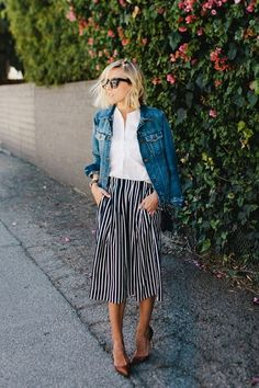 Stripe pants + white top + denim jacket