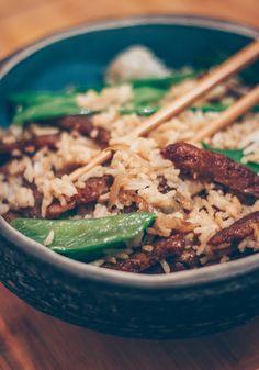 recette de riz sauté vegan aux protéines de soja texturées