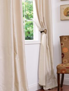 Shop for shimmering, subtly beautiful pearl white curtains. Find silk curtains made from a blend of Dupioni and Thai silk for exceptional quality. Silk Curtains, White Curtains, White Silk, Pearl White, Sunroom, Ethereal, Home Office, Pantry, Core