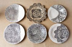 Love & Lace Ceramics: Unique handmade, ceramic clay plates imprinted carefully with antique lace.