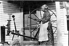 Mary Jane Johnson Chapin (1835-1918) spinning on the porch of    daughter, Minnie Chapin Christensen in Ionia County, Michigan c. 1890    Source: J Charnley    Photo Taken by Minnie Christensen    Chapin Family Photographs