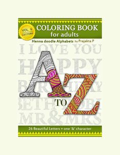 Printable Adult Coloring Book Zentangle Alphabet For Adults Birthday Gifts Pages