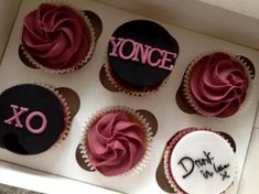 Beyonce cupcakes Queen B! For the Mrs Carter show, by Cakes by Katie UK