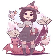 ✨💕 Here's my Witchsona portrait winner with a pet dragon!💕✨💚 and the Hogwarts chibi portrait winner as a Slytherin with a Clouded Leopard patronus! 💚✨ (I'll have a hogwarts chibi portrait giveaway next weekend so keep an eye out! Cute Kawaii Animals, Cute Animal Drawings Kawaii, Cartoon Drawings, Cartoon Art, Cute Drawings, Cute Harry Potter, Harry Potter Artwork, Harry Potter Drawings, Chibi Manga