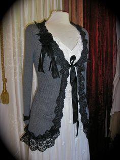 Lace-edged cardigan