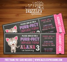 Printable Chalkboard Kitten Ticket Birthday Invitation | Cat | Kitty | You can choose different wording and colors! | Digital File | Girl Birthday Party Idea | FREE thank you card | Party Package Available |  Banner | Cupcake Toppers | Favor Tag | Food and Drink Labels | Signs |  Candy Bar Wrapper | www.dazzleexpressions.com