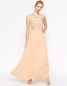ASOS Embellished Armour Maxi Dress - Shop for women's Dress - Nude