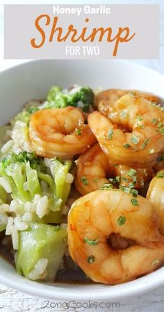 Honey Garlic Shrimp for Two - This Honey Garlic Shrimp is super easy and delicious ready in just 20 minutes. The marinade is made by mixing together honey soy sauce garlic and ginger. The sauce is excellent served over brown rice and steamed veggies o Healthy Dinners For Two, Easy Dinner Recipes, Healthy Dinner Recipes, Simple Recipes, Dinner Ideas, Quick Recipes, Recipes For Two, Easy Meals For Two, Small Meals