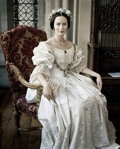 Queen Victoria (Emily Blunt)/ The Young Victoria/ Costume Design by Sandy Powell That moment when Victoria pretty much invented the white wedding dress. Movie Wedding Dresses, Wedding Movies, Wedding Gowns, Bridal Gown, Wedding Attire, Bridal Dresses, The Young Victoria, Period Costumes, Movie Costumes