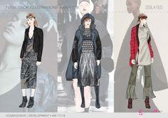 FW 2017-18 trend forecasting - Development - ISOLATED macro theme, fashion illustrations