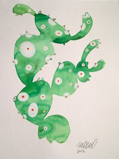 Contemporary Frog Cactus Watercolor Painting on Chairish.com