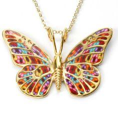 Gold & Polymer Clay Butterfly Necklace - Multicolor by Adina Plastelina $145