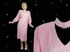 Plus Size Vintage Pink Midi Formal Dress, Loose Long Sleeve Beaded Lilli Diamond Tea Length Look Loose Shift, Rhinestone Trim & Choker Choker Dress, Plus Size Vintage, Pendleton Wool, Vintage Pink, Night Gown, Tea Length, Bell Sleeve Top, Formal Dresses, Trending Outfits