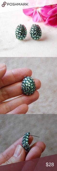 "Handmade Swarovski Crystal Earrings | Seafoam Handmade earrings made with Swarovski crystals in a seafoam green color. Eggshell shaped. 5/8"" x 7/8"". Includes box.   Instagram: @bringingupsuns Jewelry Earrings"
