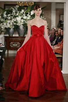 Color Your Bridesmaids Beautiful with Romona Keveza's new Luxe Evening Collection | OneWed.       Red is pretty & festive!!!!!